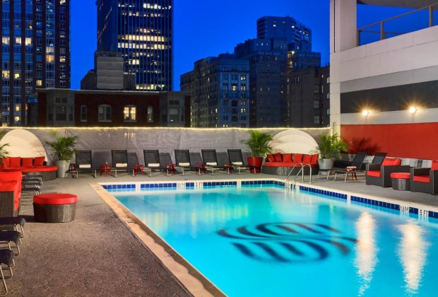 A rooftop pool makes for a refreshing break from Philly sightseeing. Photo courtesy of Sonesta Philadelphia Rittenhouse Square