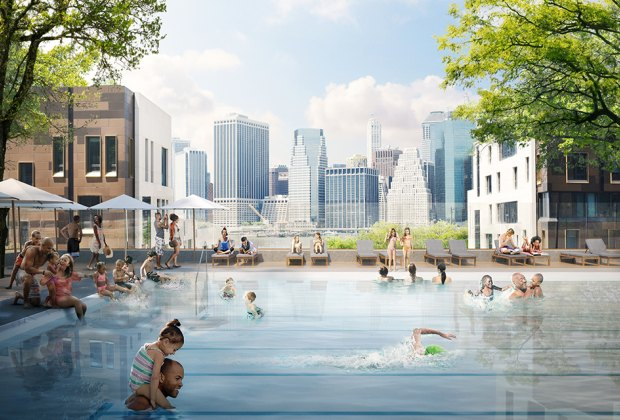 A permanent pool is coming to Squibb Park in Brooklyn Heights. Rendering courtesy of Brooklyn Bridge Park