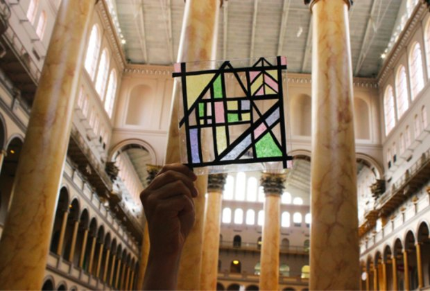 """Make your own """"stained glass"""" this weekend at the National Building Museum. Photo courtesy of the National Building Museum"""