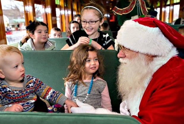 Meet Santa on the Christmas Tree Train in Ronks, PA. Photo courtesy of the Strasburg Railroad