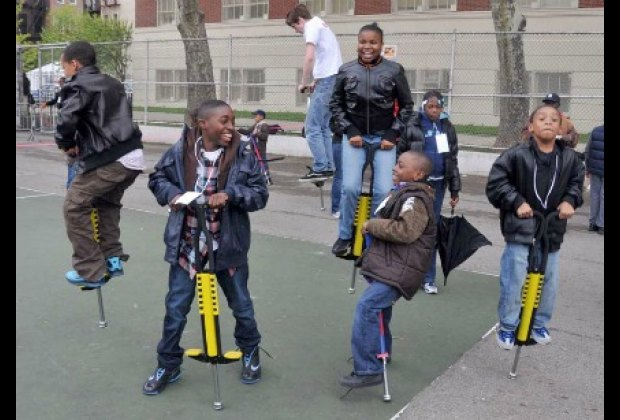 It's impossible not to smile on pogo sticks