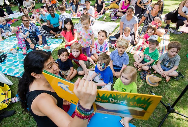 Join the 14th Street Y and PJ Library for interactive story time every week at Summer in the Square. Photo by Liz Ligon for Union Square Partnership