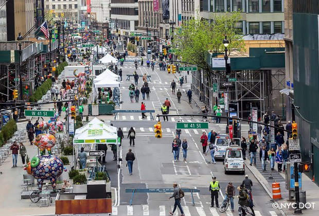 Summer Streets transforms NYC's busy avenues into playgrounds. Photo courtesy of NYC DOT
