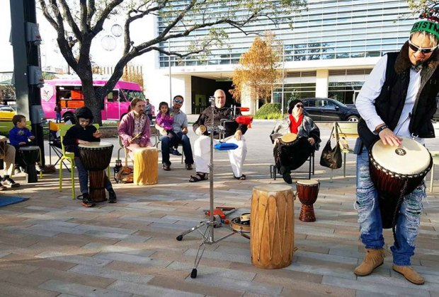 Find the beats during an afternoon drum jam session at Levy Park./Photo courtesy of Kim Comer.
