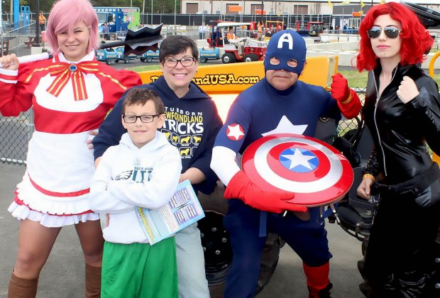 Meet your favorite superheroes at Diggerland on Saturday. Photo courtesy of Diggerland