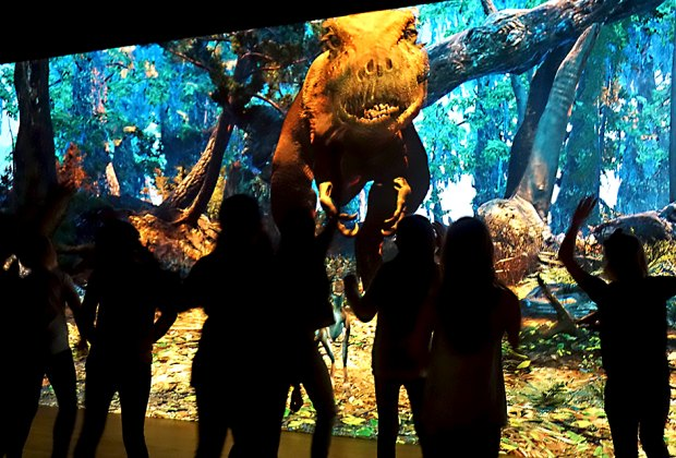 T. rex comes straight at you in this interactive exhibit at the American Museum of Natural History