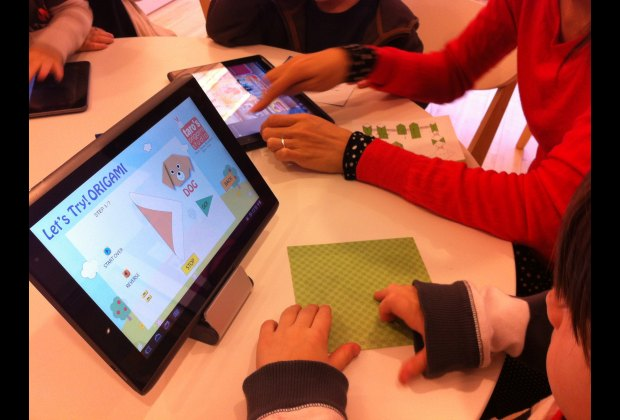 Origami guides on the tablet computers