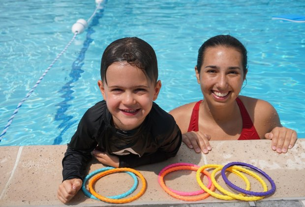 Tenacre boasts a 1:1 teacher-to-student ratio for their preschool swimmers. Photo courtesy of Tenacre Day Camp