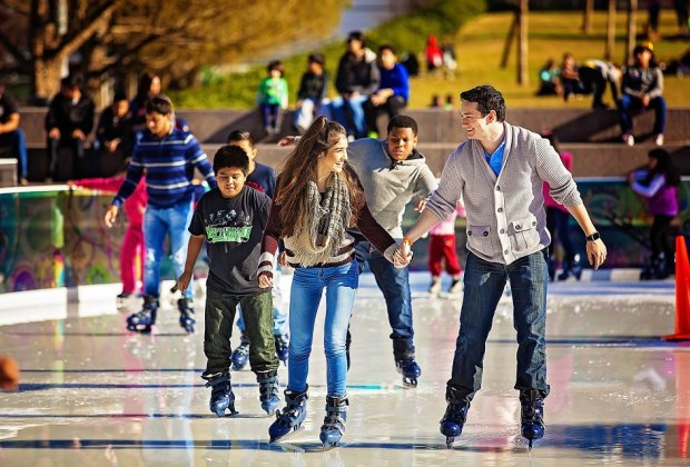 Take to the ICE at Discovery Green, where you can skate with the stars on Sundays./Photo courtesy of Katya Horner.