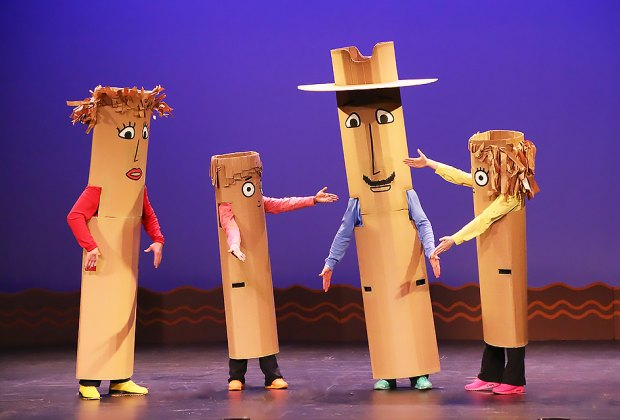 Catch this lovable family of mixed-up characters at the Paper Bag Players show, perfect for little theatergoers. Photo courtesy of the production