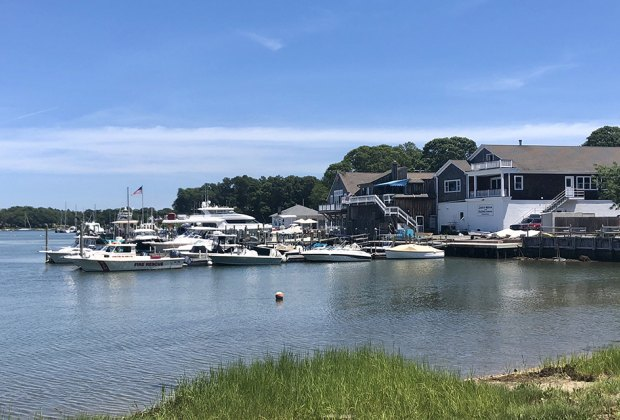 The harbor at Shelter Island Heights is a welcoming sight for visitors.