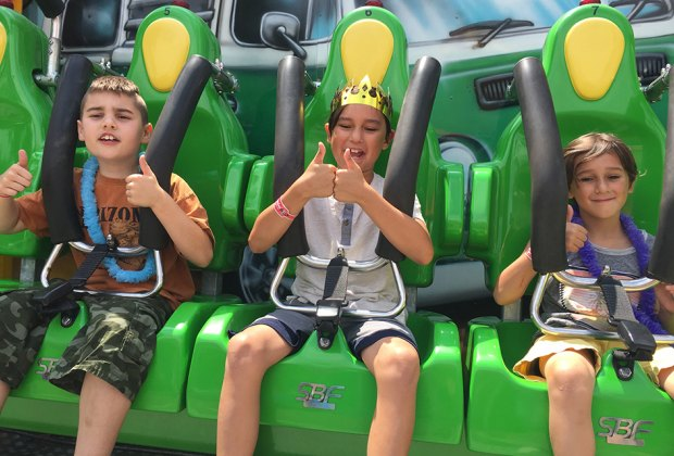 It's thumbs-up for thrill rides at Adventureland,  on the Nassau-Suffolk border.  Photo by the author