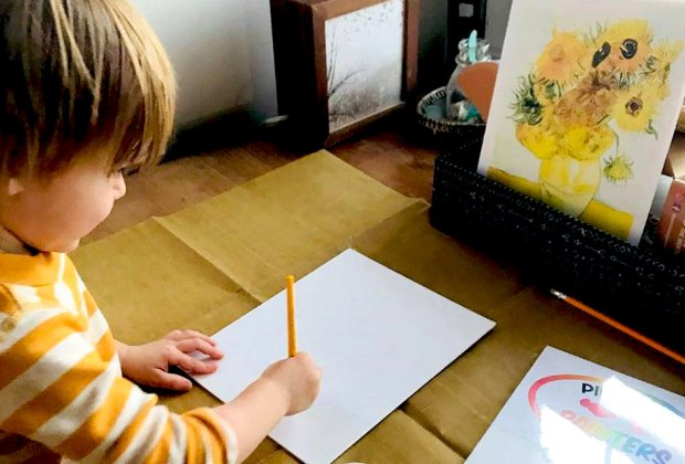 Create your own vision of van Gogh's sunflowers with a kit from Pint Size Painters. Photo by Amanda Moore