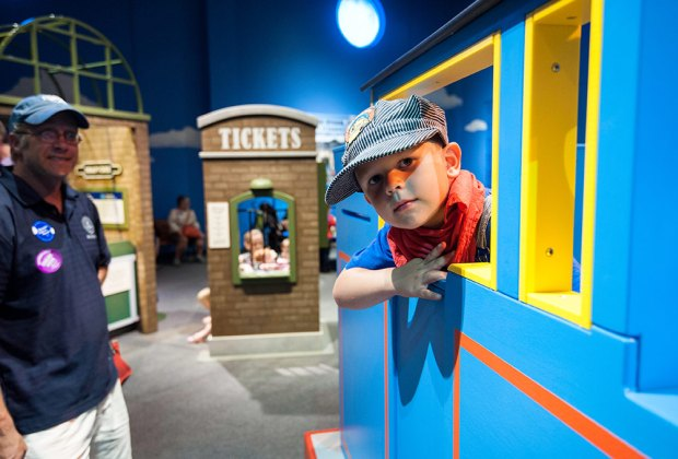 Kids are invited to climb aboard the little blue tank engine and explore train science and history at the MOS. Photo courtesy of Fisher Price/Thomas & Friends traveling exhibit