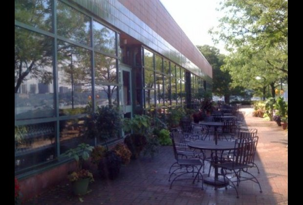 RIverbank Grill's lovely outdoor seating area