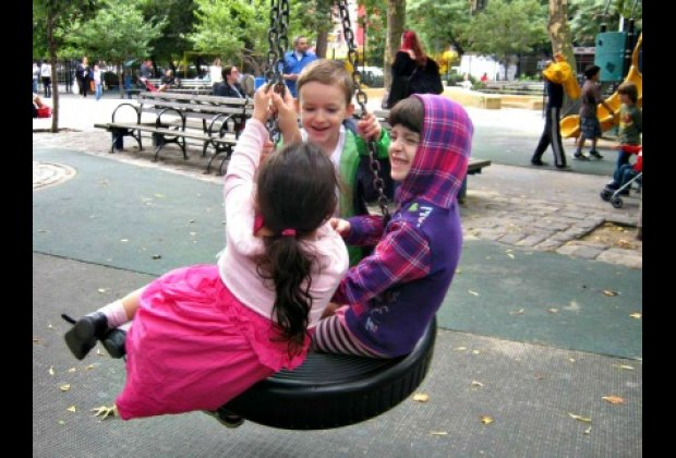 The tire swings are a highlight of the playground on the west side of Tompkins Square Park