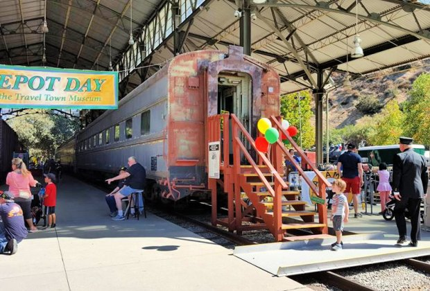 All aboard at Depot Day. Photo courtesy of Travel Town