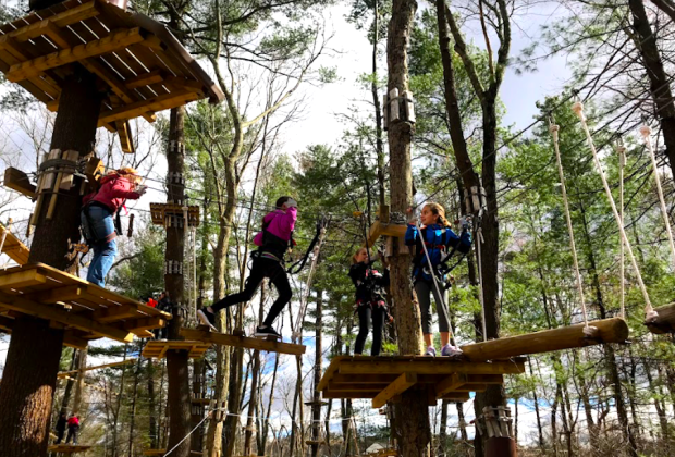 Kids ages 7 and up can navigate the ropes and zipline courses.