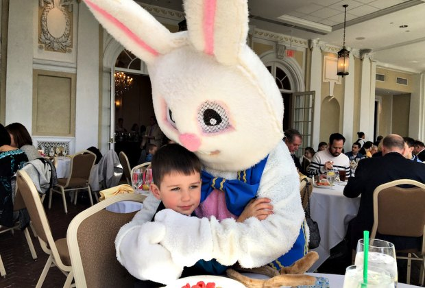 The Easter Bunny is generous with hugs at brunch. Photo courtesy of Tupper Manor