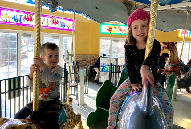 Host your party by the carousel at the Turtle Back Zoo! Photo by Mommy Poppins