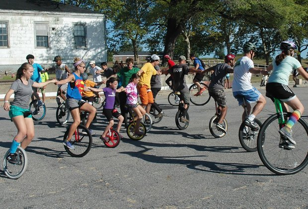 The 9th annual NYC Unicycle Festival takes place on Governors Island. Photo courtesy of Governors Island
