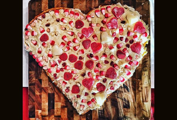 Heart shaped treats taste better when they're covered with candy.