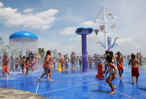 Splash around amid the sprinkler area at Venetian Shores Park on Great South Bay in Lindenhurst. Photo courtesy of Town of Babylon