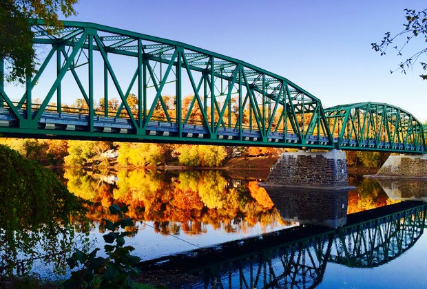 New Hope-Lambertville Toll Supported Bridge and foliage