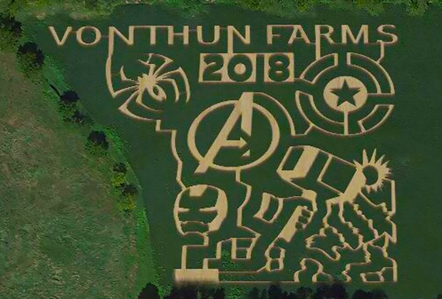 The 2018 corn maze at Von Thun Farms has a superhero theme.