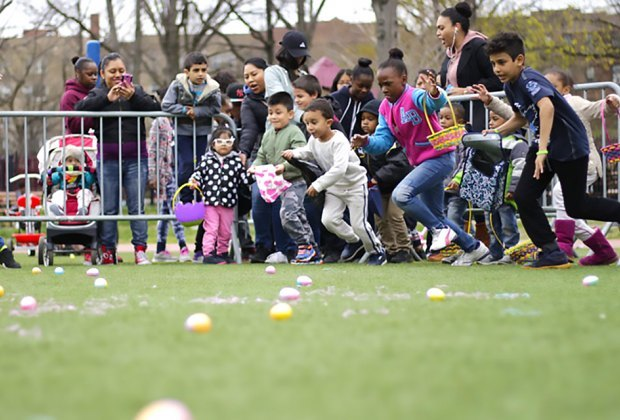 Make a mad dash for eggs at the WBO Spring Egg Hunt. Photo courtesy of the event