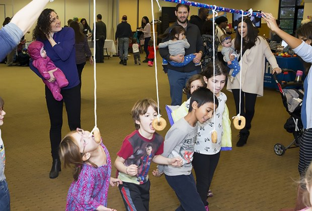 The Family Hanukkah Party at the Scarsdale Synagogue is packed with activities and games for kids. Photo courtesy of the synagogue
