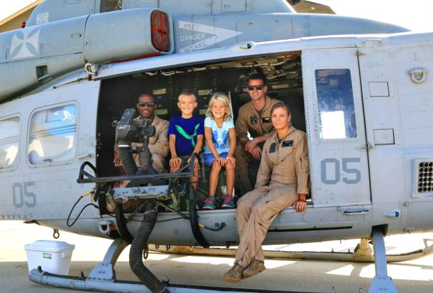 Hanging with the Marine crew. Photo courtesy of Camarillo Wings Association