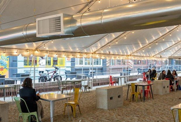 Enjoy an alfresco meal at Industry City's outdoor, heated, dining tent this winter