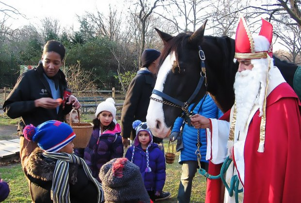 St. Nicholas visits a historic farm in Prospect Park this Sunday.