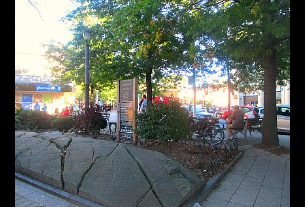 Woodside Plaza is one of many small green spaces in Woodside