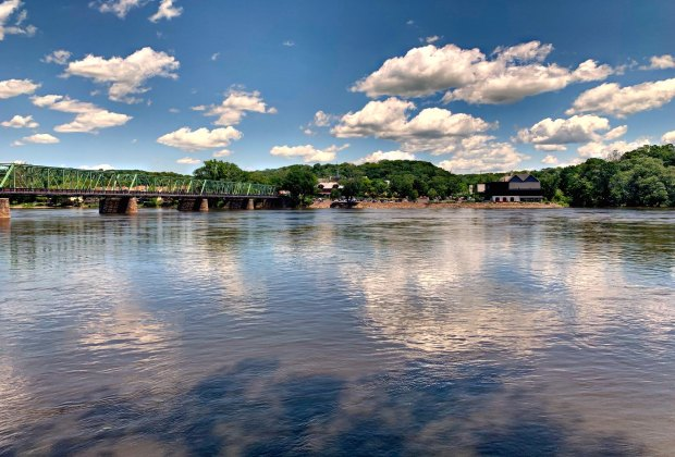 View from the riverwalk in downtown New Hope