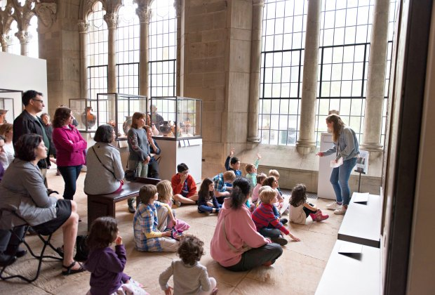 On the second Sunday of each month, the Yale University Art Gallery invites families for folktales, myths, and stories from around the world that highlight unique features of objects in the collection and inspire children of all ages to view art in new ways. Photo by Lauren Larsen