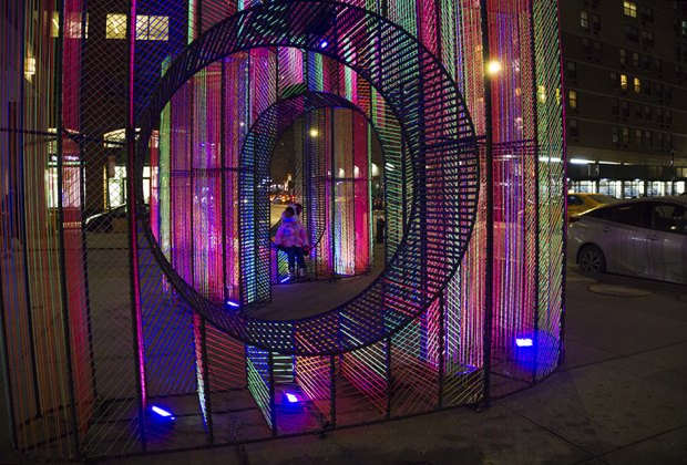 Ziggy neon cord-tied benches that manifest as a cool glow-in-the-dark installation Public art NYC