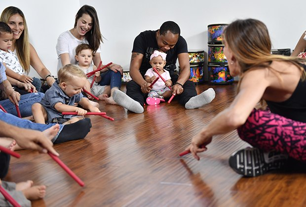 Zumbini, offered Islandwide, is a Zumba-type class for moms, dads, and little ones.